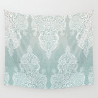 moroccan Wall Tapestries featuring Lace & Shadows - soft sage grey & white Moroccan doodle by micklyn