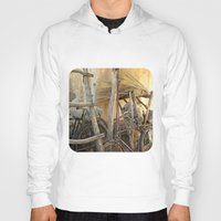 bicycles Hoodies featuring Brooms and Bicycles  by Ethna Gillespie
