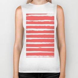 Irregular Hand Painted Stripes Coral Red Biker Tank