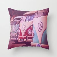 vans Throw Pillows featuring Travel vans by Agni Pettemeridi