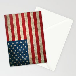 Old and Worn Distressed Vintage Flag of The United States Stationery Cards