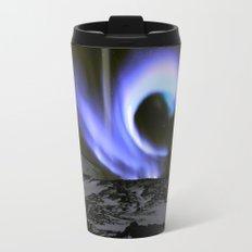 Aurora Borealis Mountains Periwinkle Lavender Metal Travel Mug