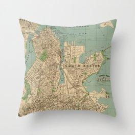 Vintage Map of Boston MA (1900) Throw Pillow