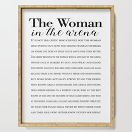 Daring Greatly Quote, Woman in the Arena - Inspirational Gift for Woman Entrepreneur Serving Tray