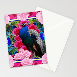 FUCHSIA  BLUE PEACOCK &  PINK ROSE GARDEN Stationery Cards