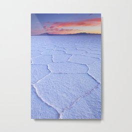 I - Salt flat Salar de Uyuni in Bolivia at sunrise Metal Print