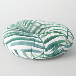 Emerald Palm Fronds Watercolor Floor Pillow