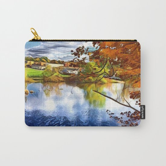 Romantic Fall River Town Nature View Carry-All Pouch
