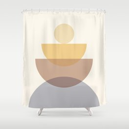 Abstraction Shapes 4 in Neutral Shades (Sun and Moon Phases) Shower Curtain