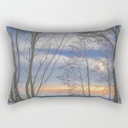 Sunset over a lake Rectangular Pillow