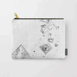 Mountain Vertices, Mt. Shasta, Black Geometric Carry-All Pouch
