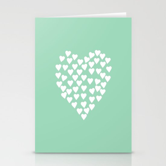 Hearts Heart White on Mint Stationery Cards
