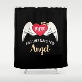 Mom, Another Name For Angel - Trendy Tattoo Heart Wings Shower Curtain