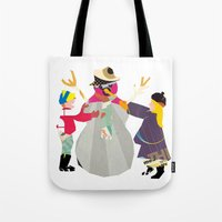 snowman Tote Bags featuring Snowman by Design4u Studio