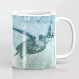 Geometric Flying Green Sea Turtle Coffee Mug