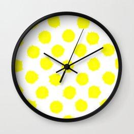 Lemon Drop Polka Dot Bright and Cheery Print Wall Clock