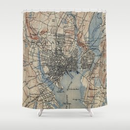 Vintage Map of New Haven Connecticut (1890) Shower Curtain