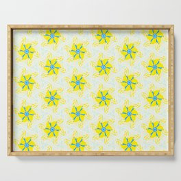 bright yellow turquoise floral geometric pattern Serving Tray
