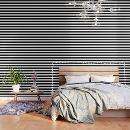 Stripe Black & White Horizontal Wallpaper