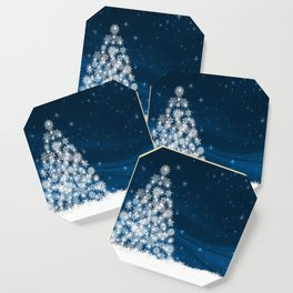 Blue Christmas Eve Snowflakes Winter Holiday Coaster