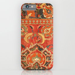 Red Arabic Rug I // 17th Century Colorful Firey Red Light Teal Sapphire Navy Blue Ornate Pattern iPhone Case