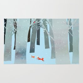 Two Foxes Running in the Woods Rug
