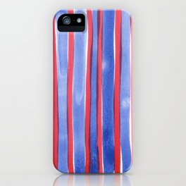 Red and Blue stripes watercolor design 4th of July iPhone Case