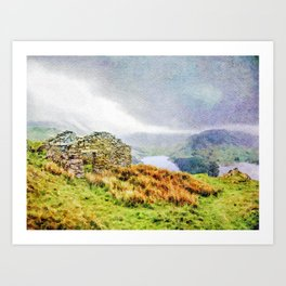 Old Stone ruins and black sky above Haweswater, Lake District. Cumbria, Uk, Watercolor Art Art Print