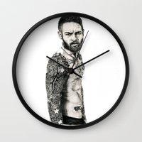 butcher billy Wall Clocks featuring Billy Huxley by Art & Ink