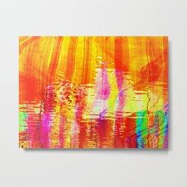 Burnt orange reflection on Lagoon Metal Print