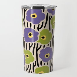 Mid Century Modern Wild Flowers Pattern Purple and Green Travel Mug