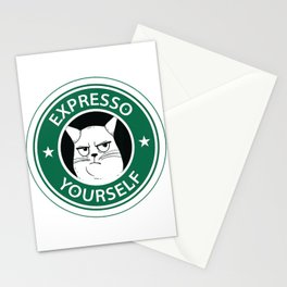Espresso Yourself, Cat Coffee Parody T-Shirt Stationery Cards