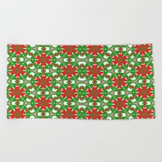 Red, Green and White Kaleidoscope 3373 Beach Towel