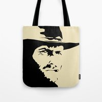 clint eastwood Tote Bags featuring Blondie ( Clint Eastwood ) by Arian Noveir