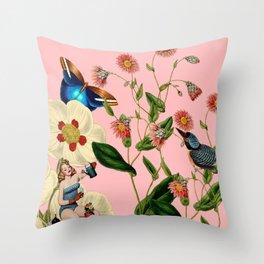 Big Flowers dream pink Throw Pillow