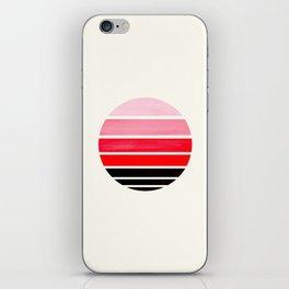 Red Mid Century Modern Minimalist Circle Round Photo Staggered Sunset Geometric Stripe Design iPhone Skin