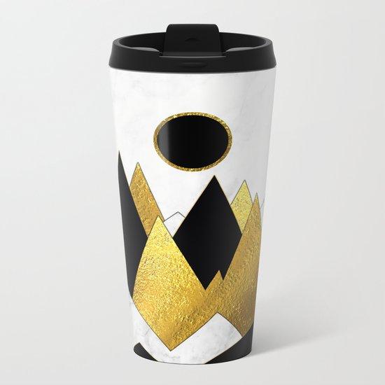 Landscape Marble, Black & Gold Metal Travel Mug