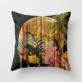 Zebras Lilies and a Harvest Moon Throw Pillow