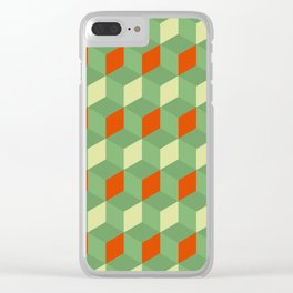 Retro green 3d boxes geometric pattern Clear iPhone Case