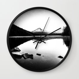 Fantastic Morning - Mount Hood Reflection Black and White Wall Clock