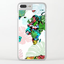 world map tropical leaves 2 Clear iPhone Case