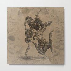 Dancing Mermaid and Skeleton Metal Print