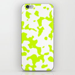 Large Spots - White and Fluorescent Yellow iPhone Skin