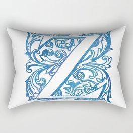 Letter Z Elegant Vintage Floral Letterpress Monogram Rectangular Pillow