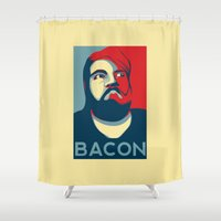 bacon Shower Curtains featuring BACON by MezmoreyezGaming