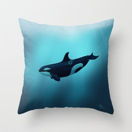 """Lost in Serenity"" by Amber Marine ~ Orca / Killer Whale Art, (Copyright 2015) Throw Pillow"