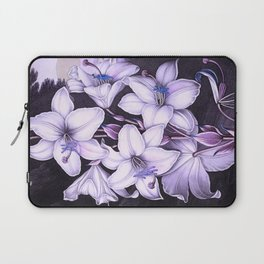 The White Lily w/ Variegated-leaves Lavender Temple of Flora Laptop Sleeve