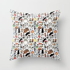 Kawaii Ghibli Doodle Throw Pillow