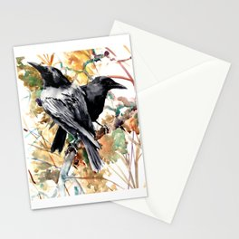 Ravens in the Fall, raven wall art Stationery Cards