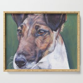 SMOOTH FOX TERRIER dog art portrait from an original painting by L.A.Shepard Serving Tray